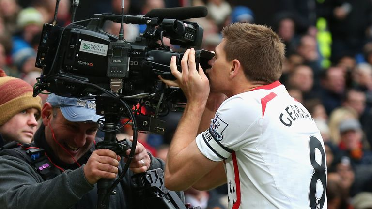 Steven Gerrard of Liverpool celebrates by kissing the camera during the 3-0 win  in March 2014