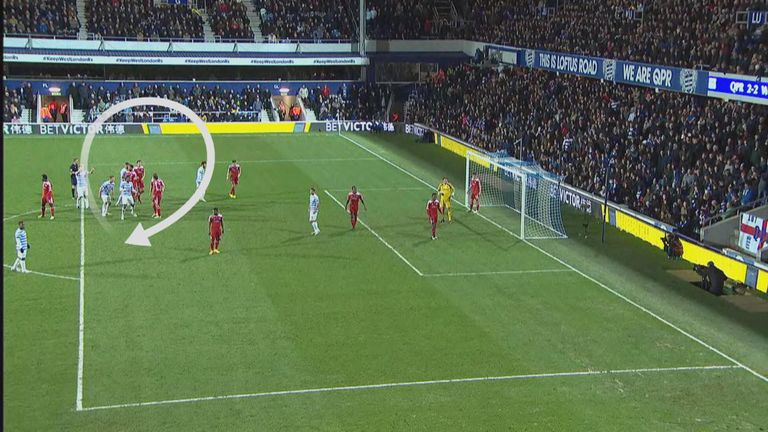 West Brom players (circled) all concentrate on their man, rather than the incoming corner