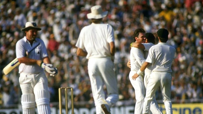 Allan Border celebrates after capturing the crucial wicket of England captain Mike Gatting the 1987 final