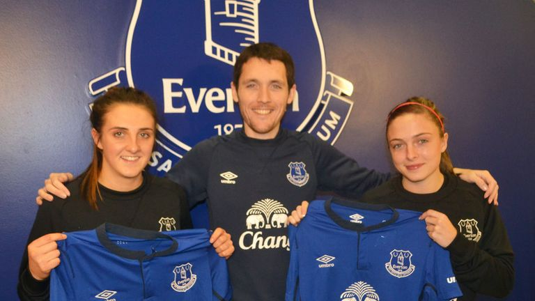 Everton Ladies boss Andy Spence welcomes Danielle Lea (left) and Megan Alexander (right)