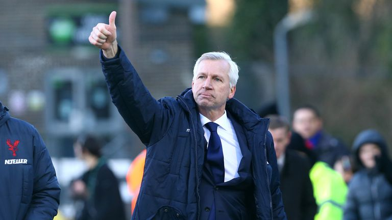 Crystal Palace manager Alan Pardew salutes the fans