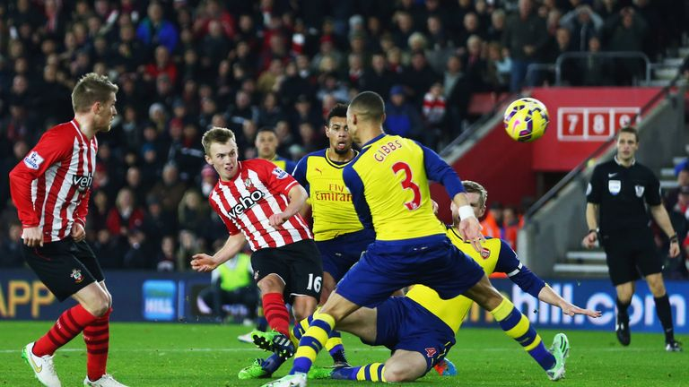 James Ward Prowse Has A Shot Past The Arsenal Defence During Last Seasons