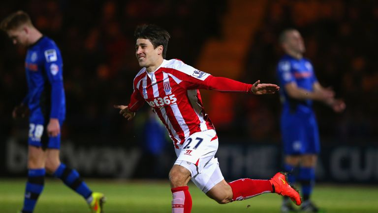 Bojan celebrates his superb goal early on against Rochdale