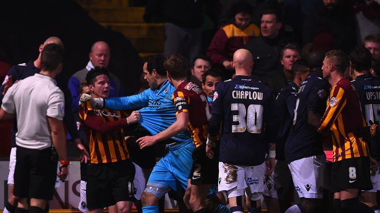 Tempers flare as Bradford manager Phil Parkinson is sent off
