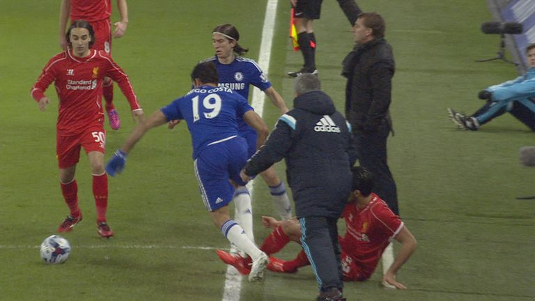Diego Costa appeared to stamp on Emre Can on the touchline in front of the two dugouts
