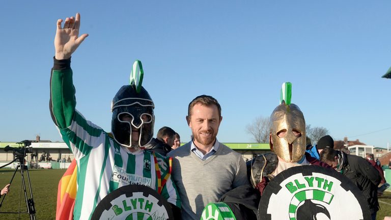 Gary Rowett: Poses with Blyth fans before kick-off