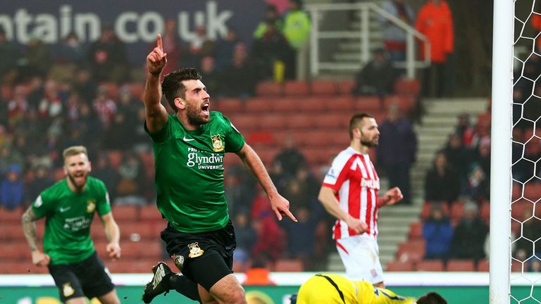 Carrington gave non-league Wrexham the lead at Stoke