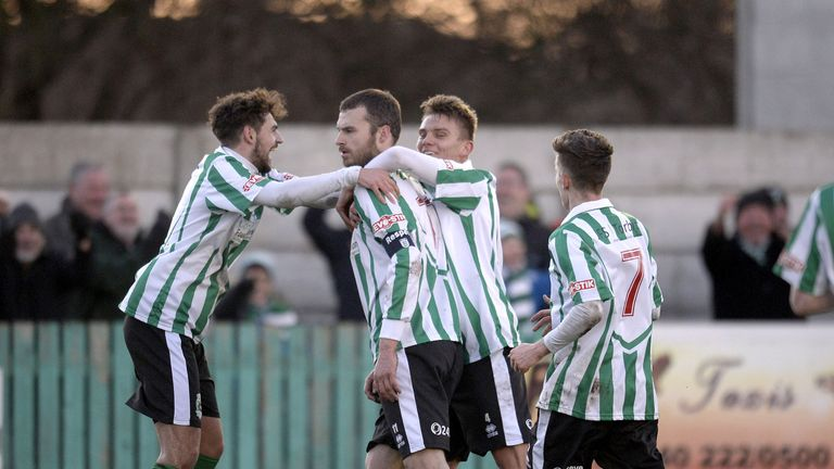 Dale: Mobbed after second goal for Blyth