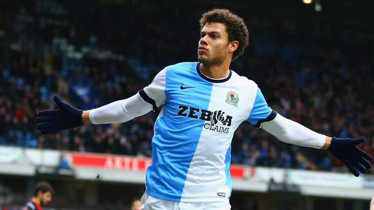 Rudy Gestede: Celebrates giving Rovers the lead