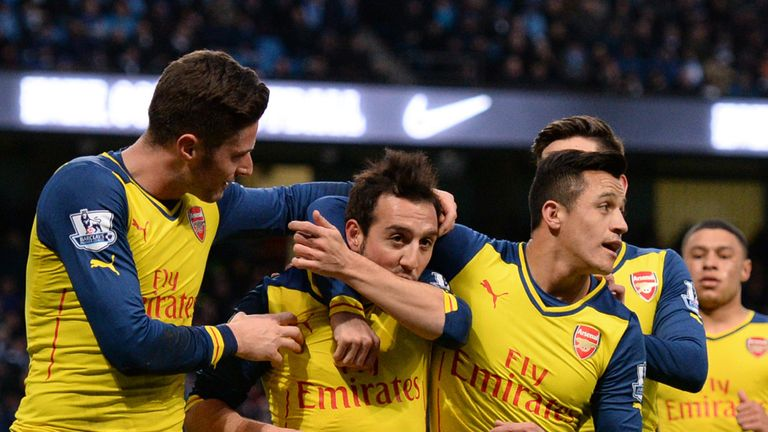 Santi Cazorla celebrates after scoring in Arsenal's win at the Etihad in 2015 - their last against a 'big six' side away from home