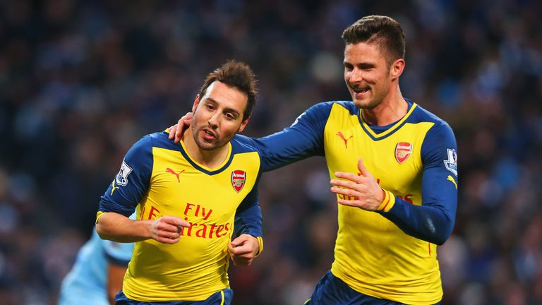 Santi Cazorla and Olivier Giroud: The win over Man City was seen as a turning point for Arsenal.