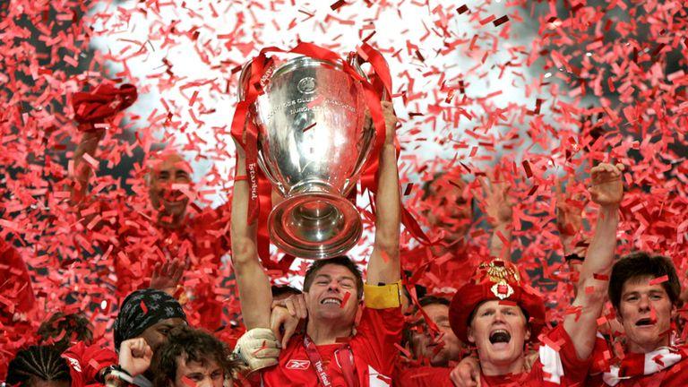 Liverpool captain Steven Gerrard lifts the Champions League trophy