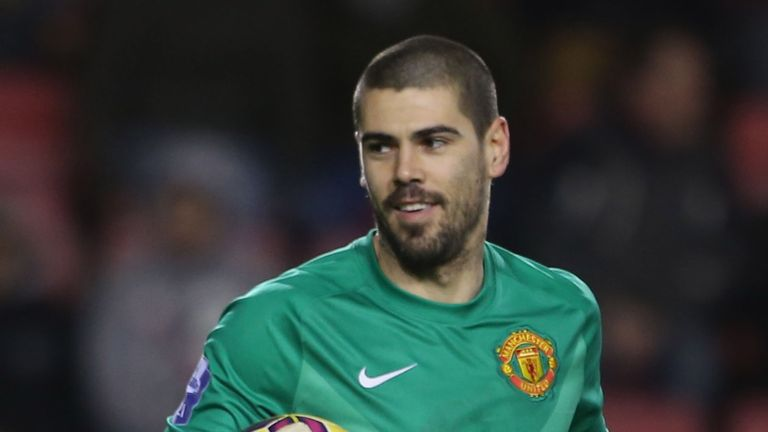 Victor Valdes played in a Manchester United shirt for the first time on Monday