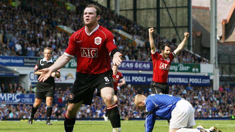 Wayne Rooney celebrates after scoring against former club Everton