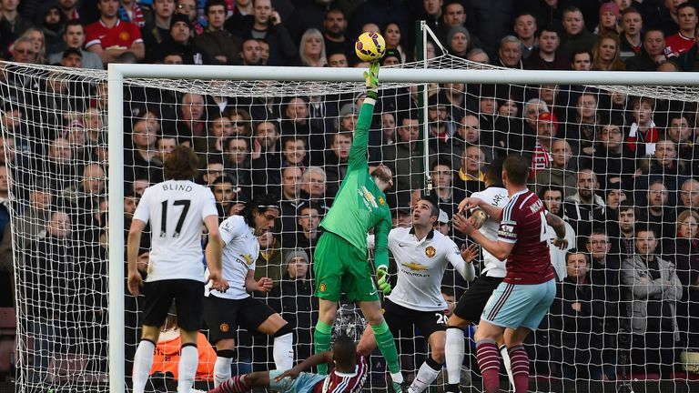 A typical reflex save from De Gea against West Ham's Enner Valencia