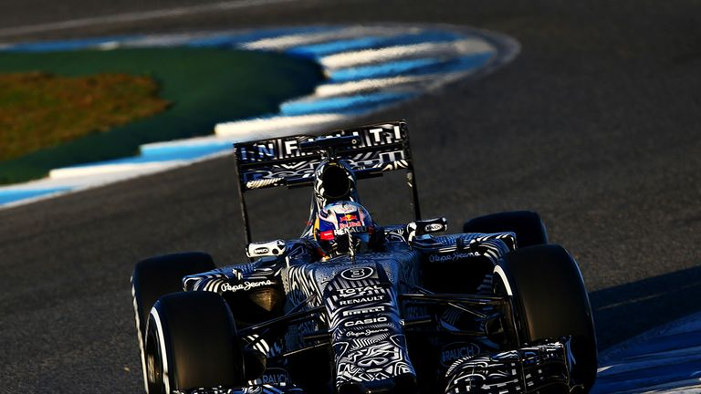 Can you spot it? Daniel Ricciardo in the 'disguised' RB11 at Jerez