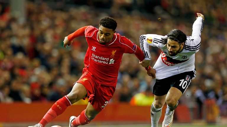 Jordon Ibe looks to get away from Olcay Sahan