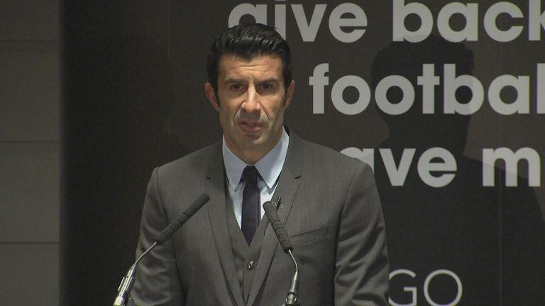 Luis Figo launches his bid for the FIFA presidency