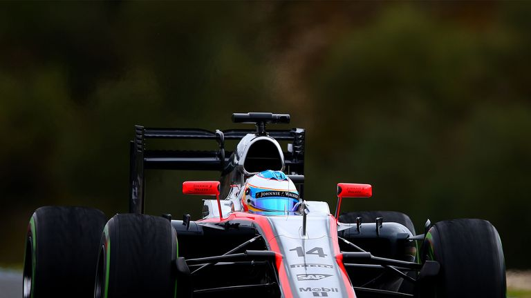 Fernando Alonso in the MP4-30 during the Jerez test