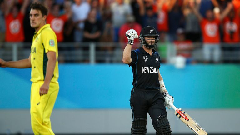 Kane Williamson celebrates after sealing their Pool A win over Australia with a six