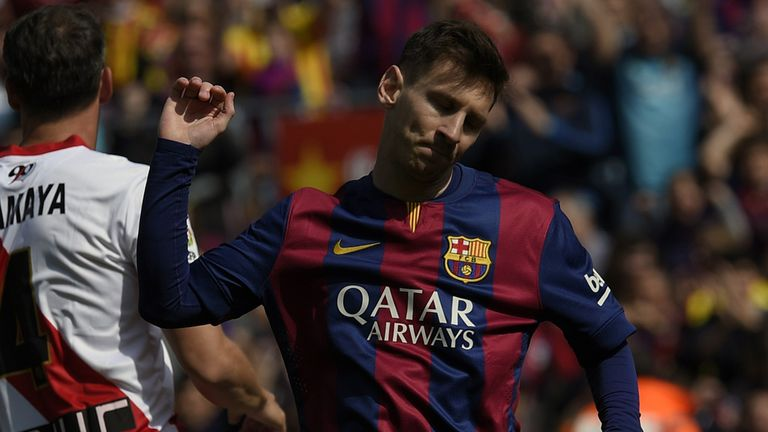 Lionel Messi: Celebrates after scoring against Rayo Vallecano