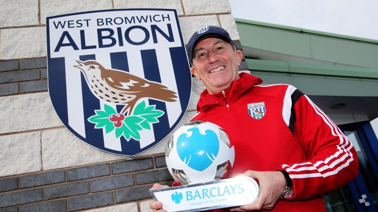 West Brom manager Tony Pulis wins the Barclays Premier League manager of the month award