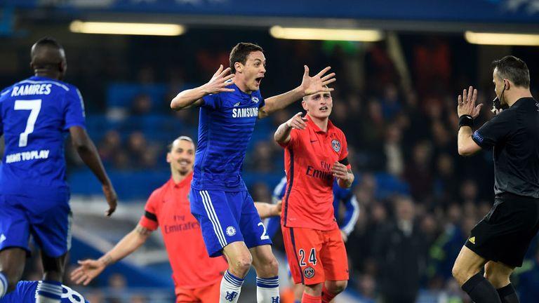 Nemanja Matic leads the Chelsea appeals after Zlatan Ibrahimovic's challenge