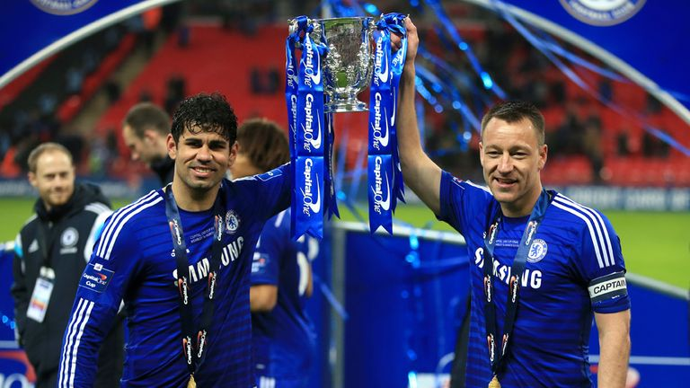 Chelsea's Diego Costa and John Terry celebrate winning the Capital One Cup final
