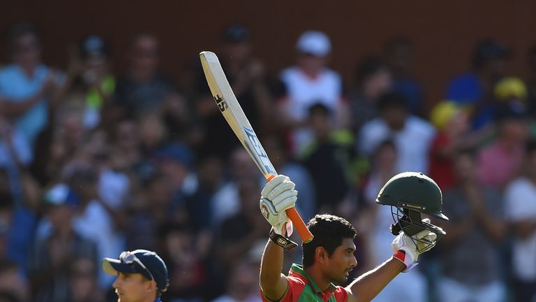 Mahmudullah celebrates his century against England during the 2015 Cricket World Cup