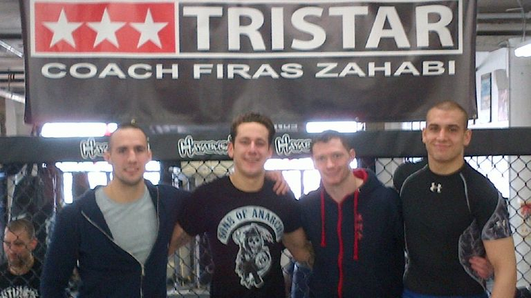 Joseph Duffy (second right) trains at Tristar in Canada alongside Rory MacDonald (far left)