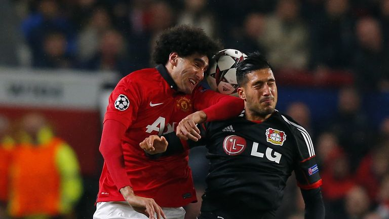 Marouane Fellaini can be expected to test Emre Can in the air