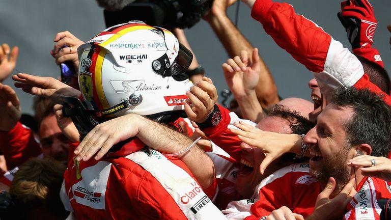 Sebastian Vettel: Receives the acclaim of his new Ferrari colleagues