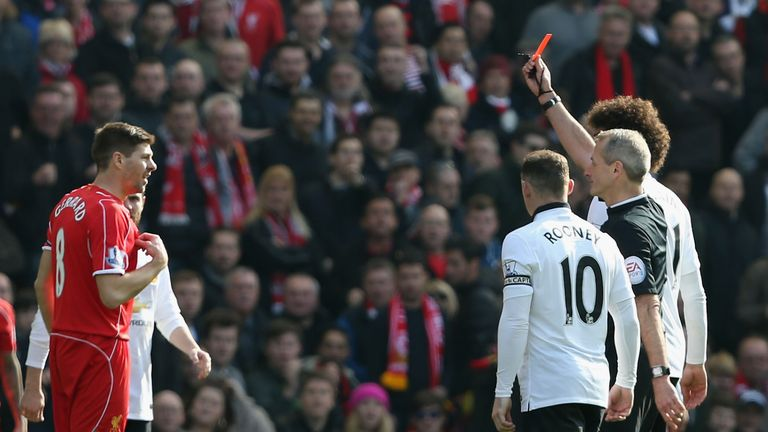 Steven Gerrard is sent off just 38 seconds after coming on for a stamp on Ander Herrera