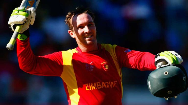 Brendan Taylor celebrates his century