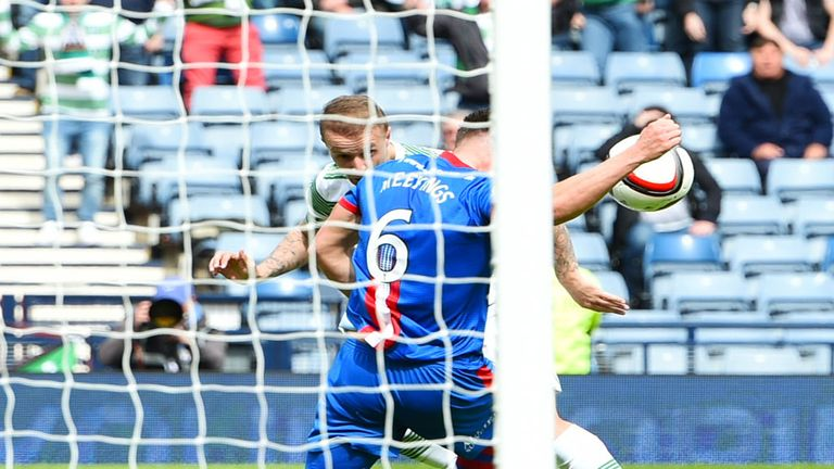Josh Meekings appears to hand the ball after Leigh Griffiths header for Celtic looked set to go in