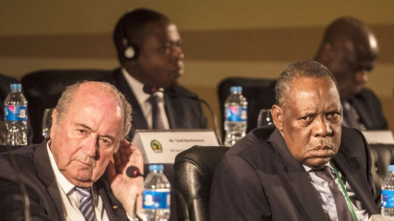 Sepp Blatter (left) has the backing of CAF president Issa Hayatou (right)
