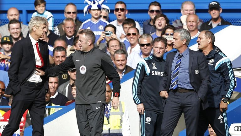 Arsene Wenger shoved Jose Mourinho during Chelsea's 2-0 win in October.