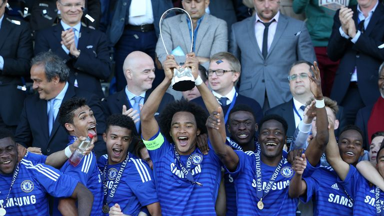 Chelsea starlet Brown lifts the UEFA Youth League trophy last season