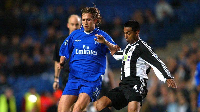 Samuele Dalla Bona of Chelsea in action against Newcastle in December 2001