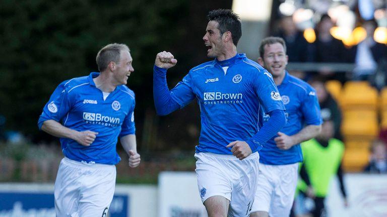 St Johnstone striker Brian Graham celebrates his opening goal against Dundee