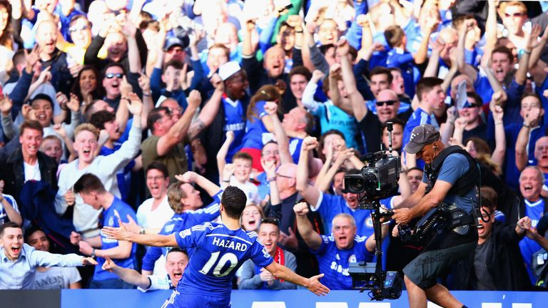 Eden Hazard soaks up the adulation after scoring against Manchester United