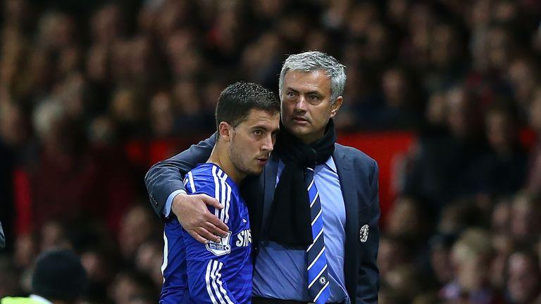 Chelsea Manager Jose Mourinho embraces Eden Hazard