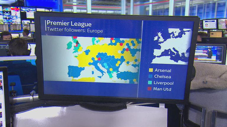 The majority of northern Europe is marked by the yellow of Arsenal, with Chelsea following closely behind