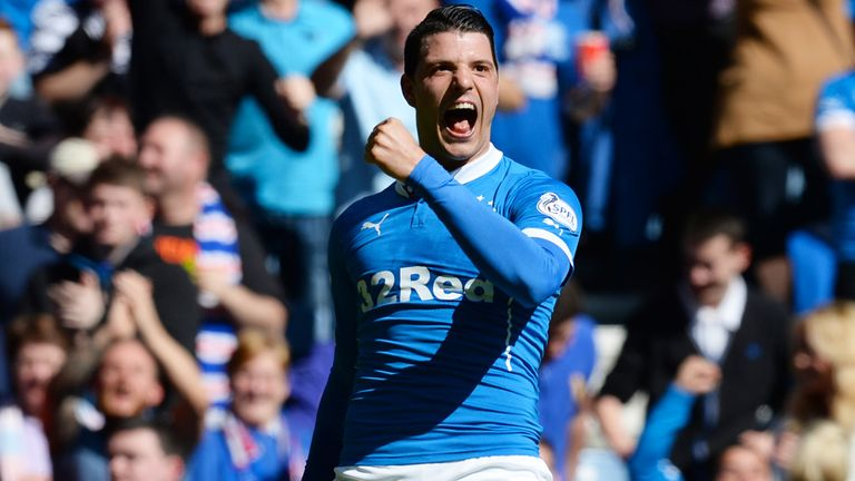 Haris Vuckic celebrates after scoring for Rangers against Hearts