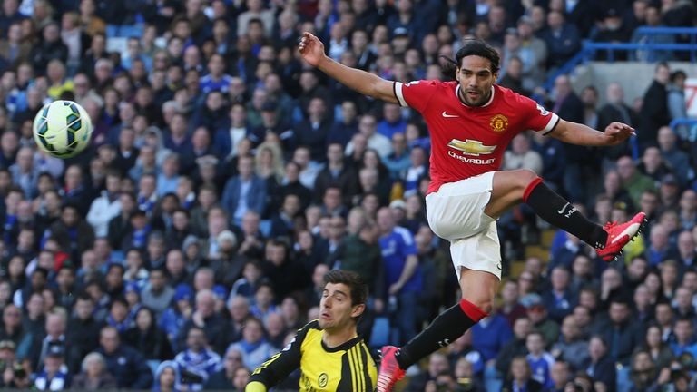 Falcao, competing with Chelsea's Thibaut Courtois, scored just four goals for United