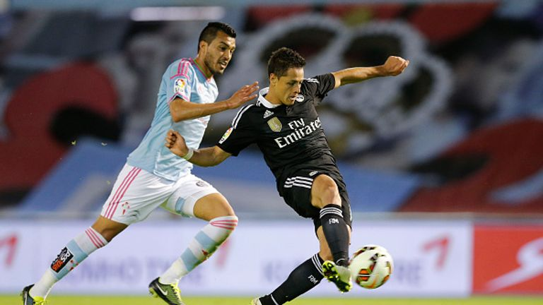 17f07df84 Javier Hernandez (right) scores during the La Liga match between Celta de  Vigo and