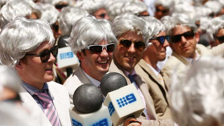 Fans impersonating Richie Benaud on fancy dress day