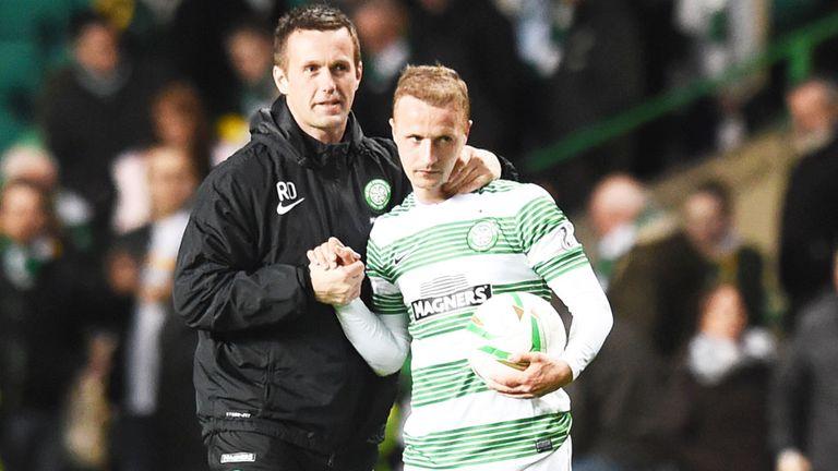 Ronny Deila congratulates Leigh Griffiths after his hat-trick for Celtic against Kilmarnock