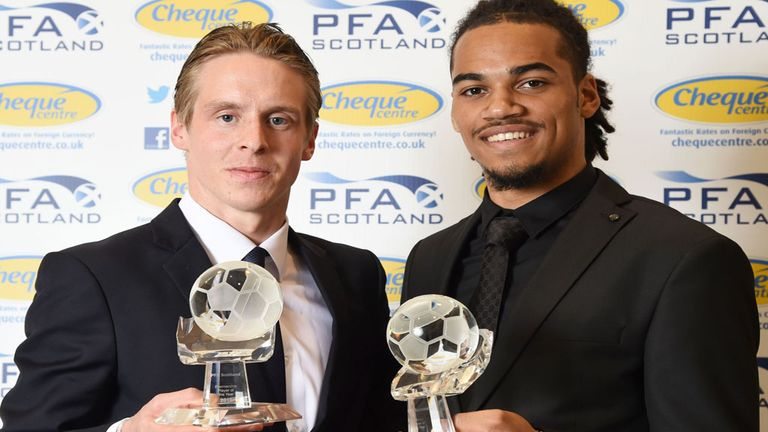 Celtic duo Stefan Johansen and Jason Denayer with their PFA Scotland Player of the Year awards