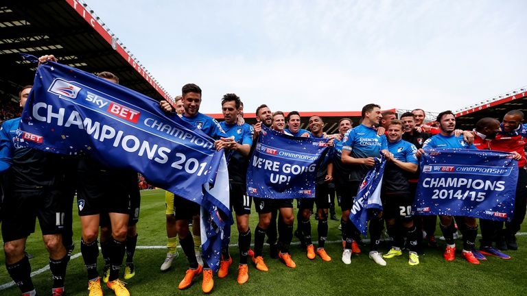 Bournemouth celebrate winning the Championship with victory over Charlton